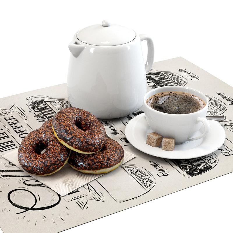 set donuts coffee 3D model