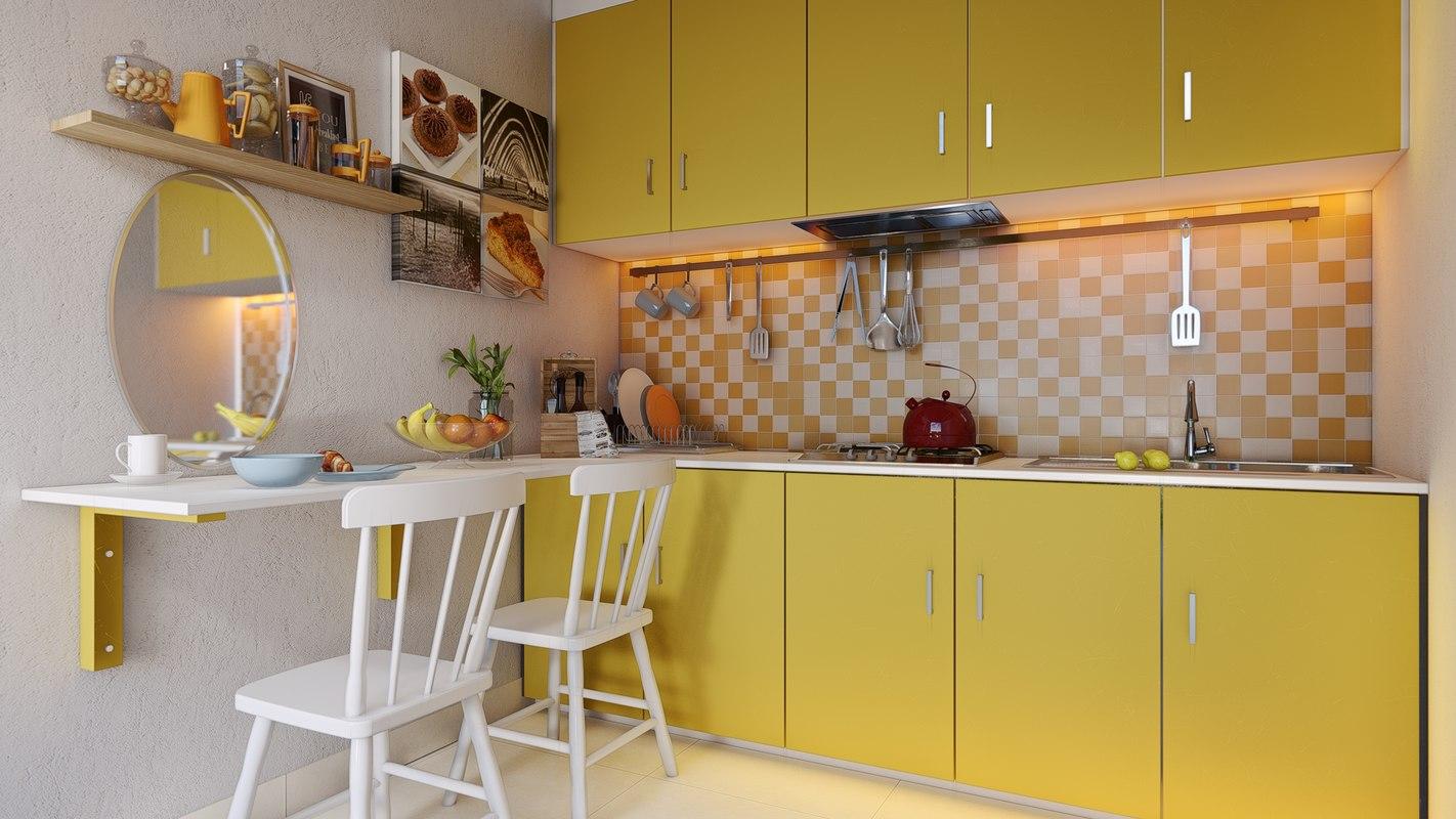 Lumion Skills by Chuck - Yellow Kitchen