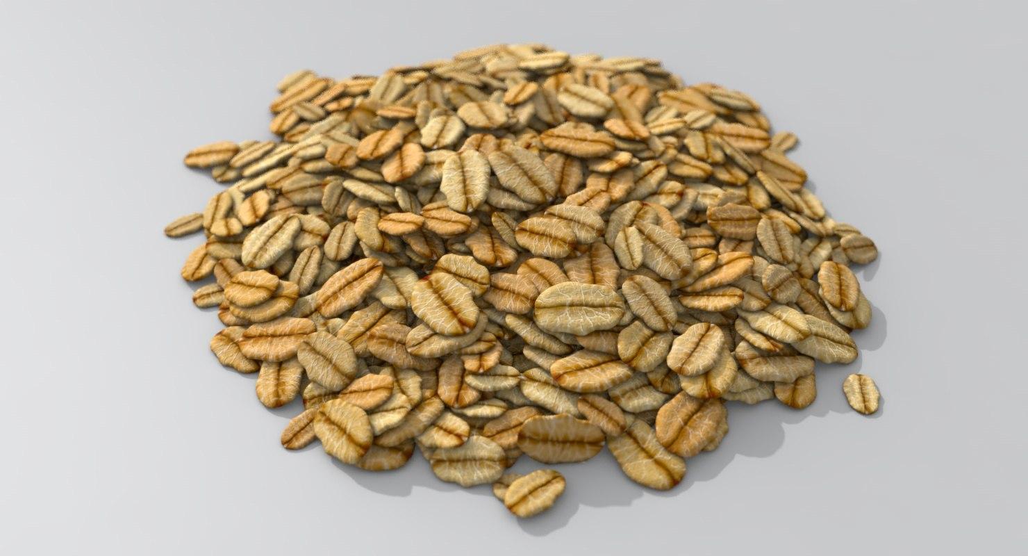pile flaked oat cereals 3D model