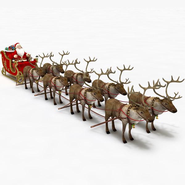 3D santa sleigh reindeers model