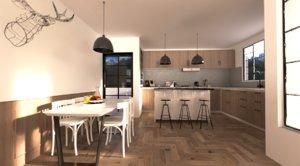 designed kitchen room model