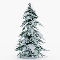 3D tree snowy pine model