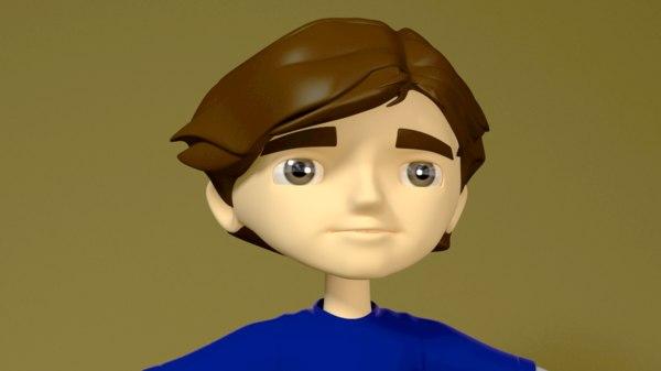 3D cartoon boy rigged model