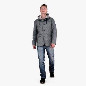 casual guy winter dress 3d model