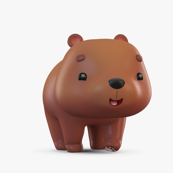 cute cartoon brown bear 3D