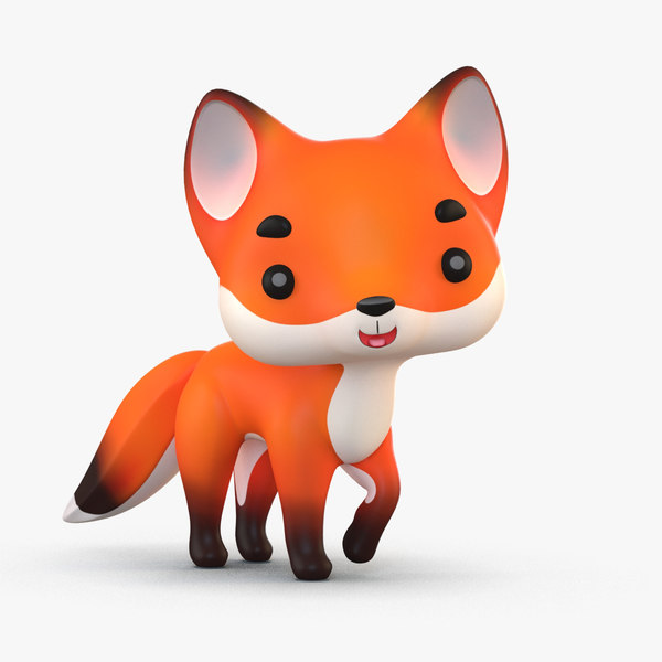 3D cute cartoon fox 2 model