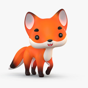 3D cute cartoon fox 2 model
