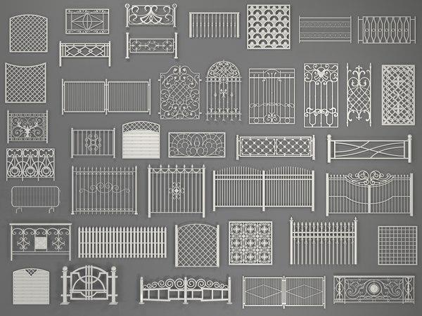fences - 40 pieces 3D model