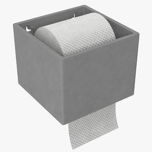 cement toilet roll holder 3D model