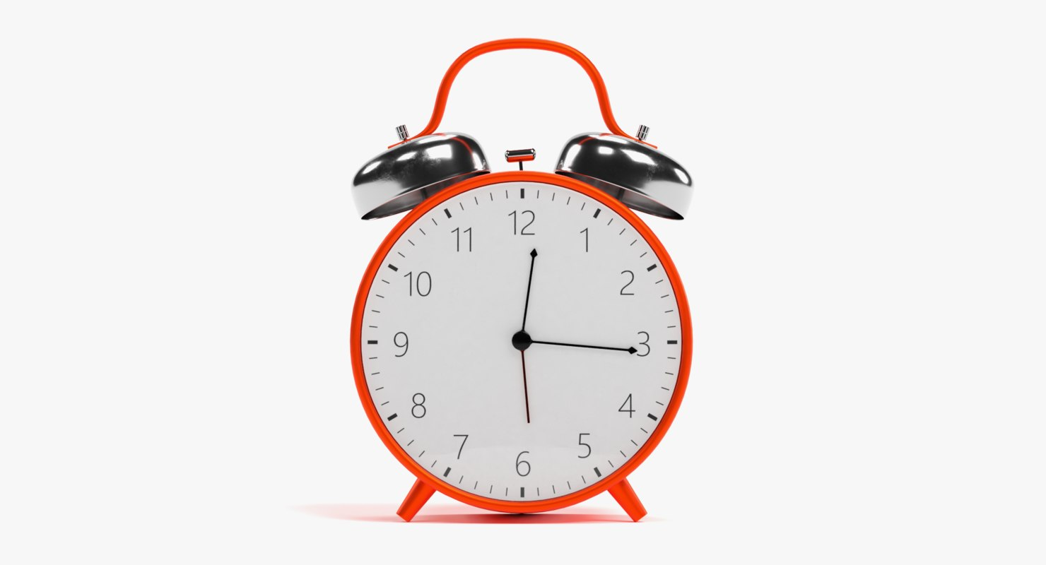 red alarm clock rigged 3D model