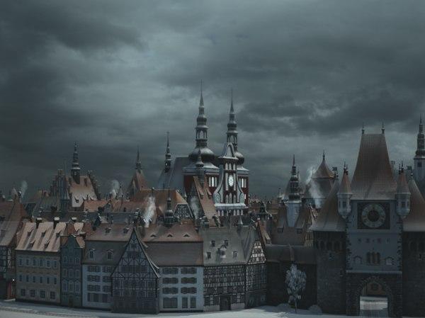 old european town winter model
