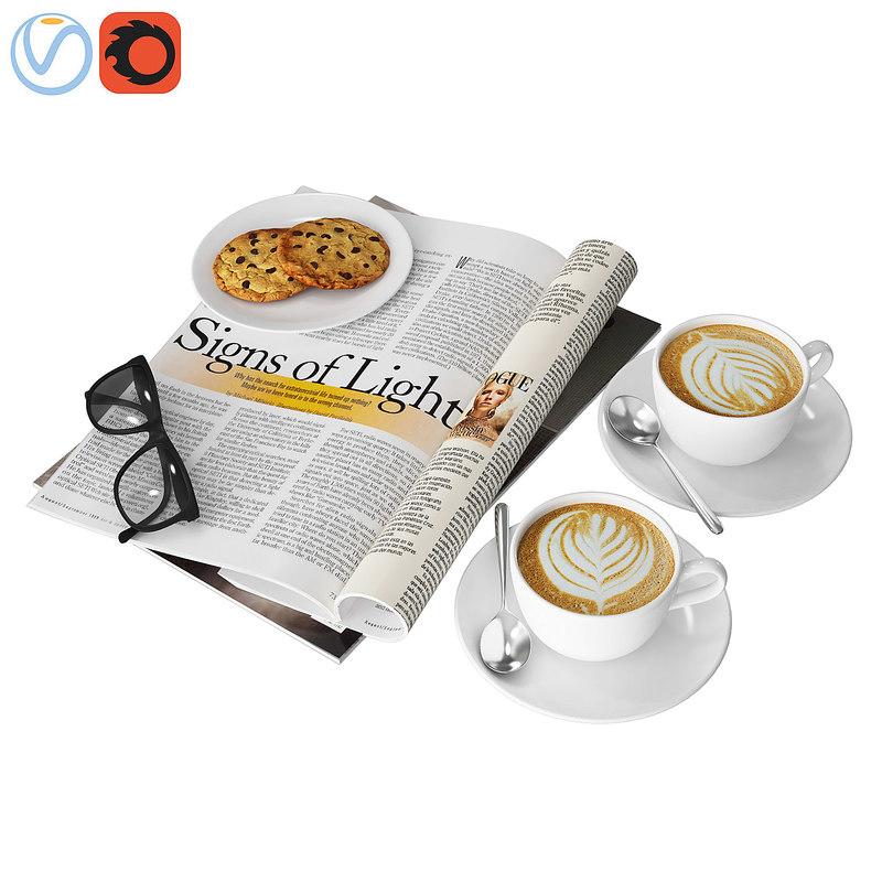 decorative coffee magazine 3D model
