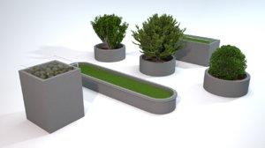 decorative granite blocks 3D model