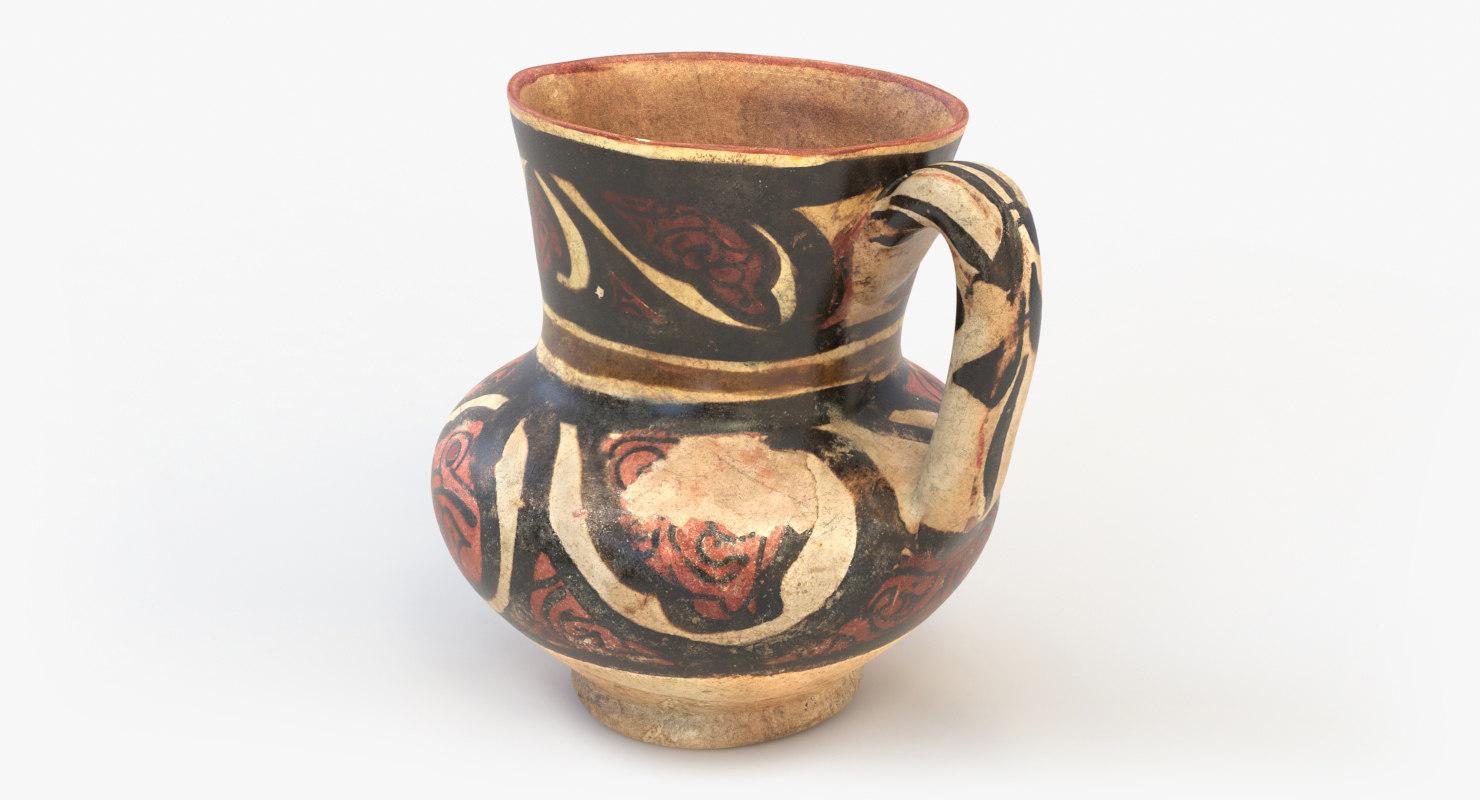 ancient saudi pottery carafe 3D model