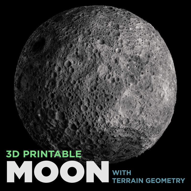 printable moon terrain geometry 3D model