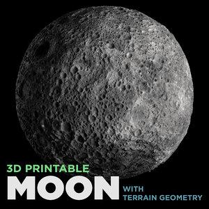 printable moon terrain geometry 3D model