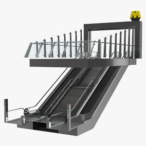 entrance subway metro station 3D model