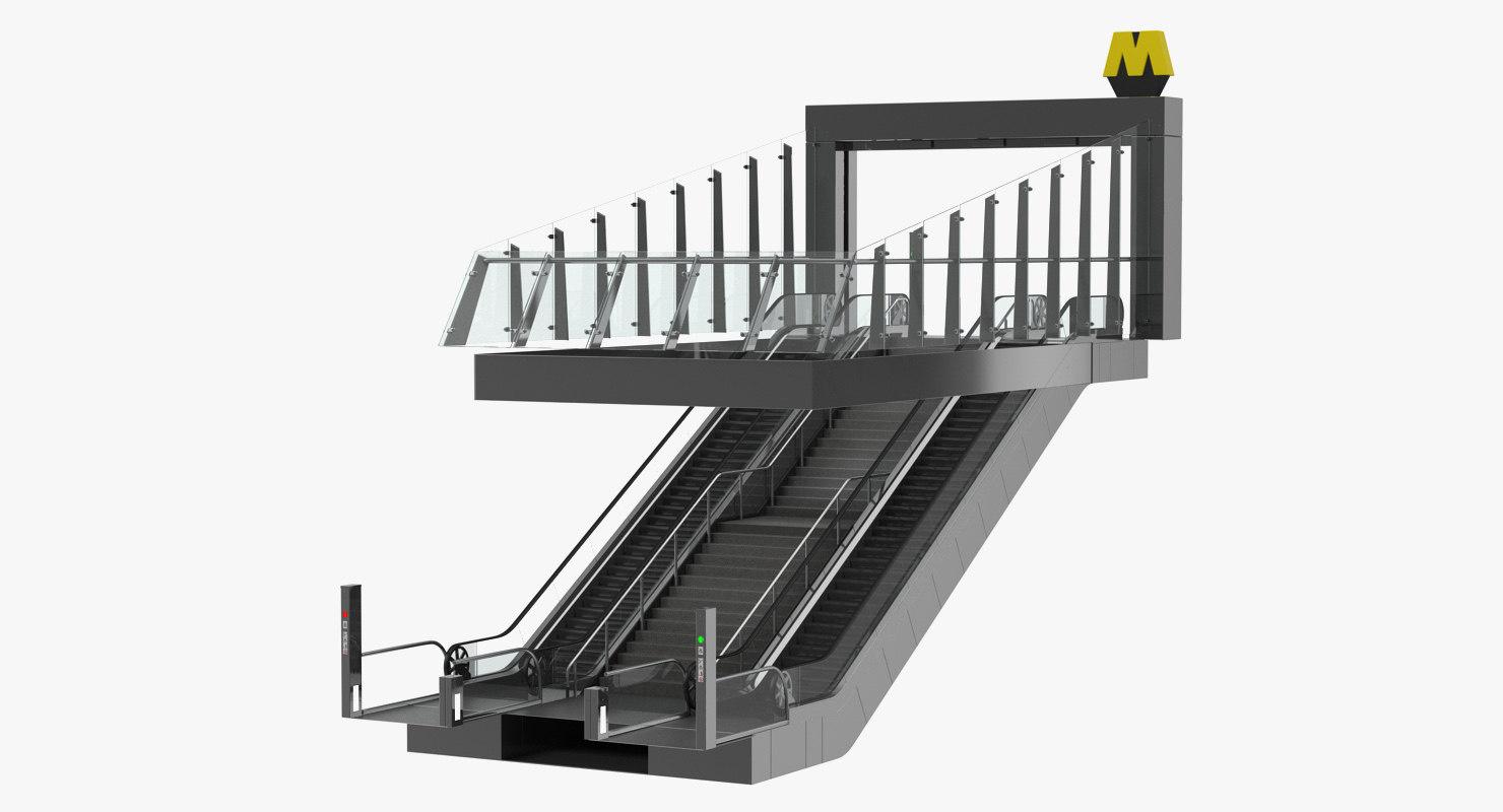 entrance subway metro station 3D model