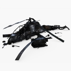3D helicopter crashed model