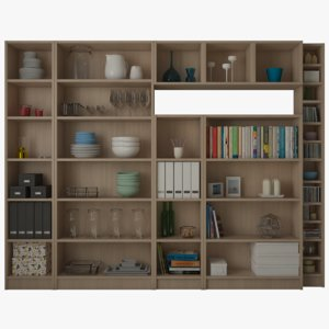 3D ikea billy bookcase oxberg