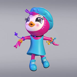 3D cartoon french girl chicken model