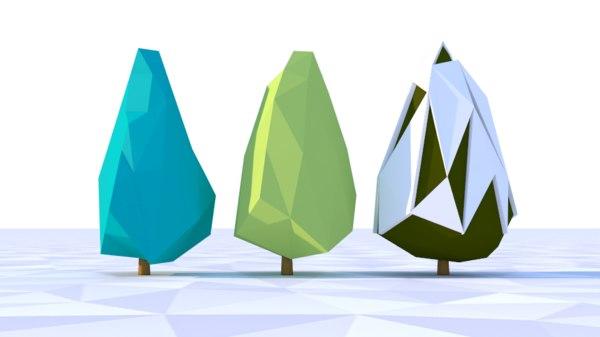 scene tree blue spruce 3D