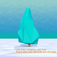 tree blue spruce Low Poly