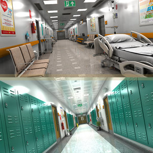 3D model hallway hospital school room