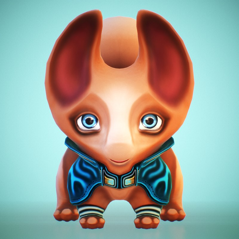 3D stylized squirrel rigged character model
