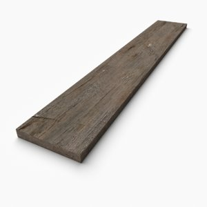 pbr wooden plank 3D model