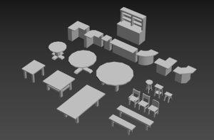 untextured tavern white box 3D