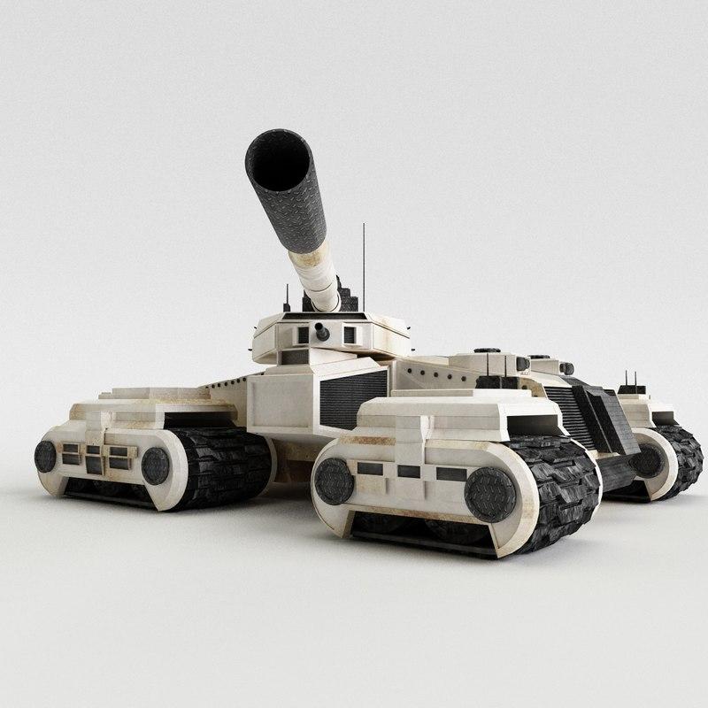 3D sci-fi future tank