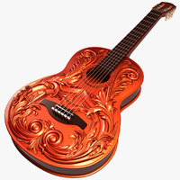3d 3ds carved guitar