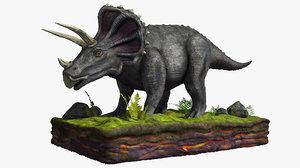 3D gray triceratops model