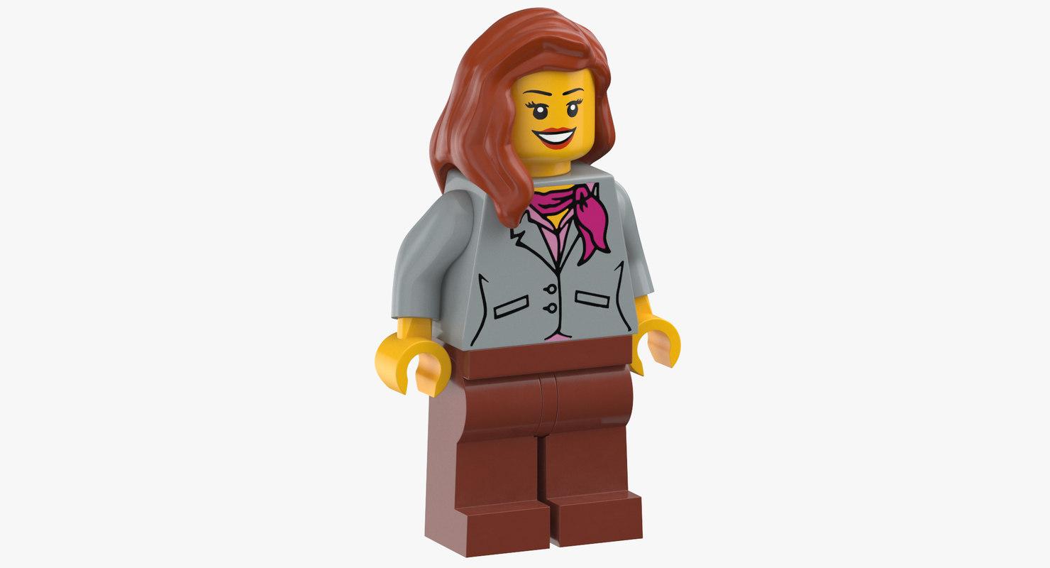 lego woman stewardesse 3D model