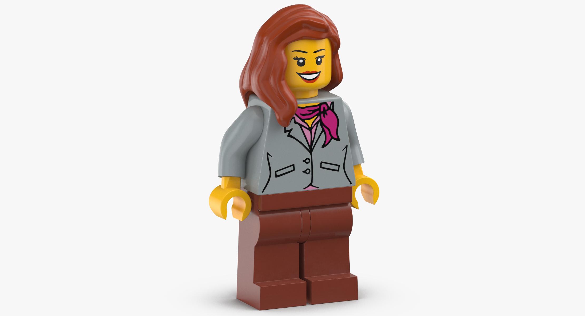 LEGO Woman in Bright Light Blue Sweater Minifigure   Brick