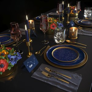 3D blue night table set model