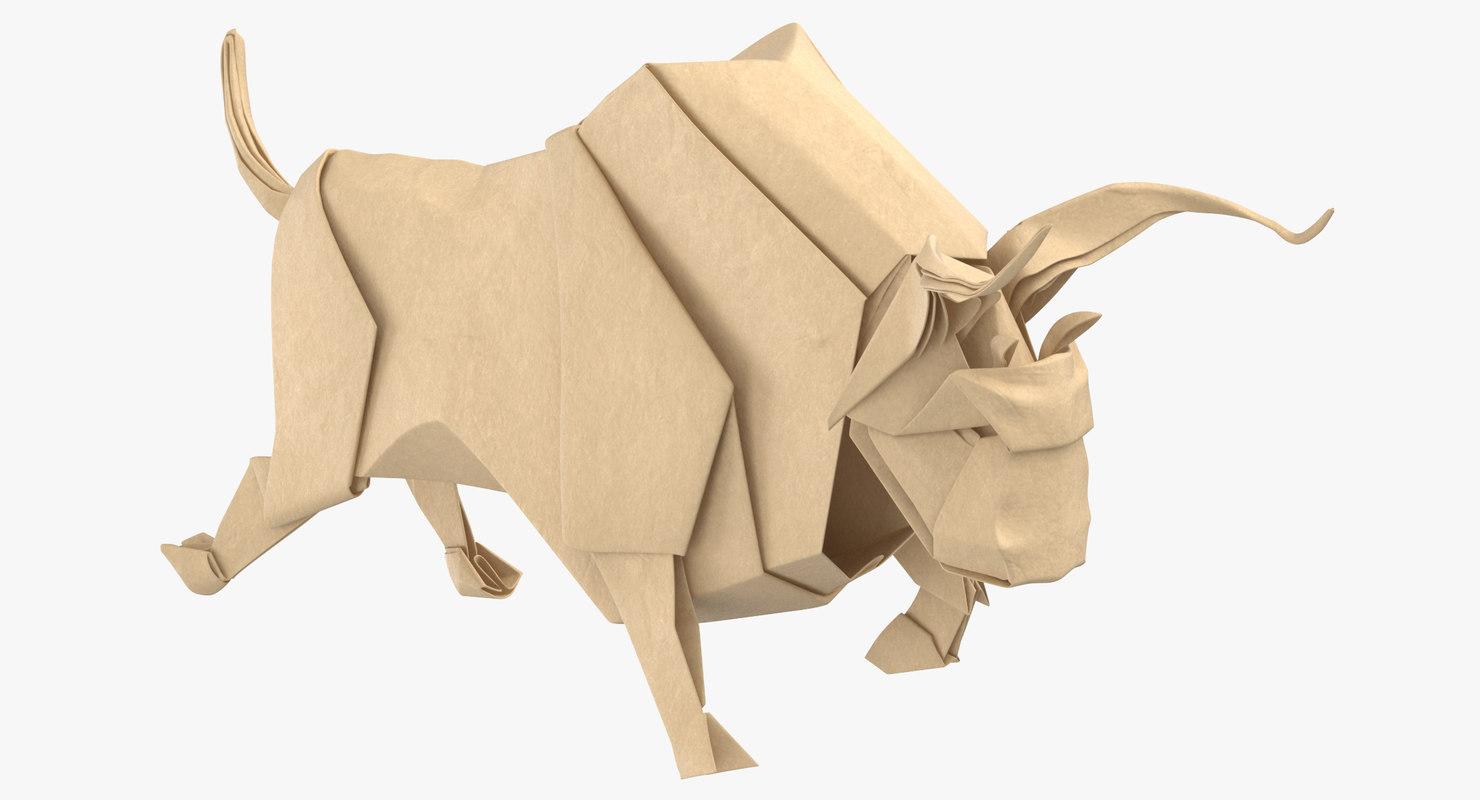 bull origami 3D model