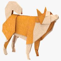 dog origami 3D model