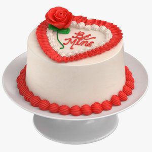 heart shaped cake 01 3D