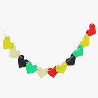 3D heart shaped garland 01 model