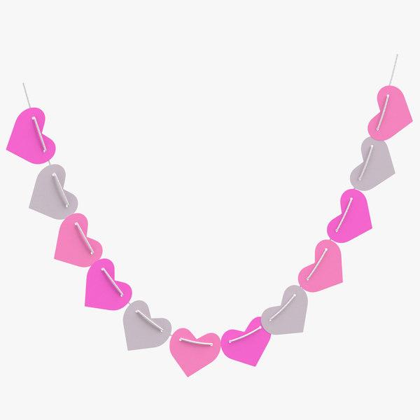 heart shaped garland 03 3D