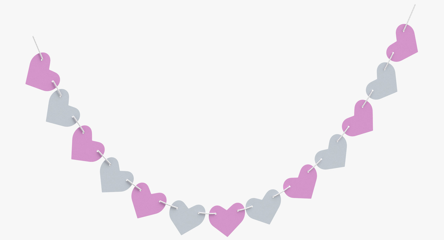 3D heart shape garland