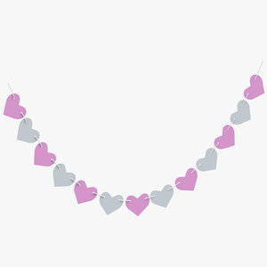 3D heart shape garland