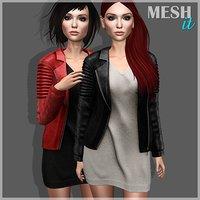 leather jacket dress 3D