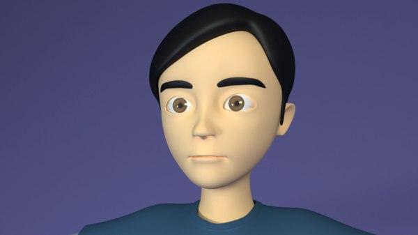 3D cartoon teen boy rigged model