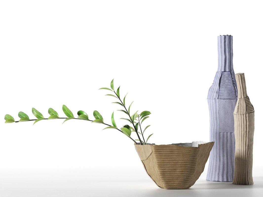 3D paper clay vase bottles