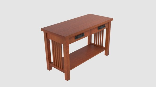 mission-style double drawer desk model