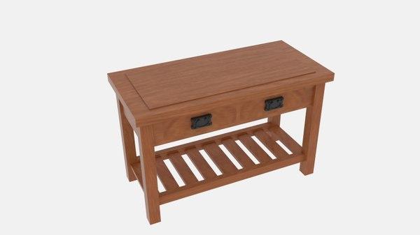 3D rustic storage table model