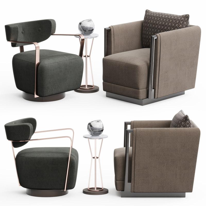 3D caracole chair set model